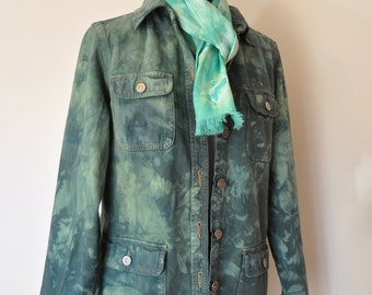 "Green Medium Denim JACKET - Dark Green Hand Dyed Upcycled Cherokee Denim Barn Jacket - Adult Womens Size Medium (40"" chest)"