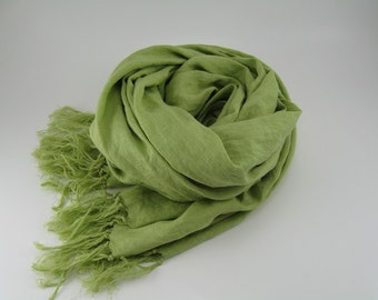 Handmade Linen Scarf --- Light Green