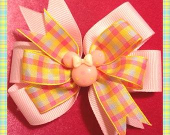 Minnie Mouse Pastel Polka dot Plaid Bow