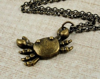 Crab Necklace, Antique Bronze Crab Charm on a Bronze Cable Chain