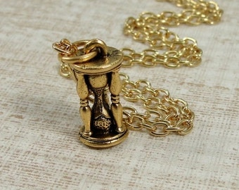 Hourglass Necklace, Gold Egg Timer Charm on a Gold Cable Chain