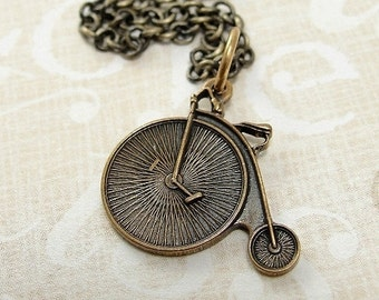 Penny Farthing Bicycle Necklace, Antique Bronze Old Fashioned Bicycle Charm on a Bronze Cable Chain