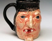 Old Crone Witch Mug One of a Kind Sculpted Stoneware Pottery from Big Sky Artworks