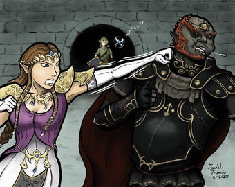 Zelda punching Ganondorf art print
