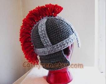 Roman Soldier Helmet, Greek Trojan Hat, INSTANT DOWNLOAD Crochet Pattern