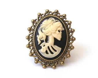 Zombie Ring, Skeleton Ring, Black and Cream Cameo Ring, Lolita Ring, Antiqued Bronze, Skull Ring