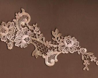 Hand Dyed Floral Venise Lace Applique  Aged Ballet Blush