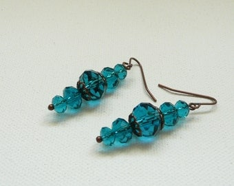 Blue and Copper Crystal Rondelle Dangle Earrings
