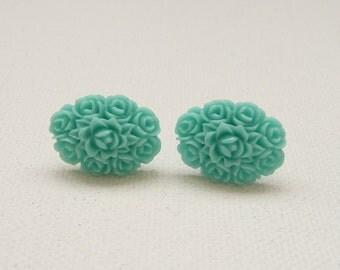 ns-Oval Aqua Resin Rose Bouquet Stud Earrings