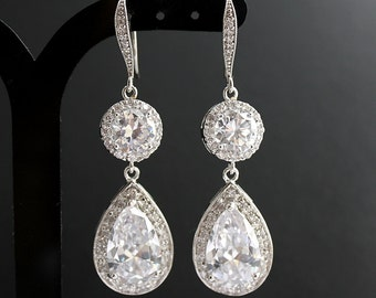 Wedding Drop Earrings Silver Bridal Crystal Earrings Clear Cubic Zirconia Bridal Jewelry Crystal Wedding Jewelry, Abia