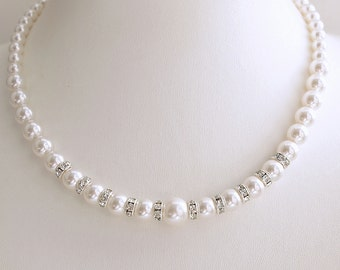 Pearl Necklace Wedding Single Strand Pearl Swarovski Pearls in White Ivory OR Cream Wedding Necklace Bridal Jewelry, Irta