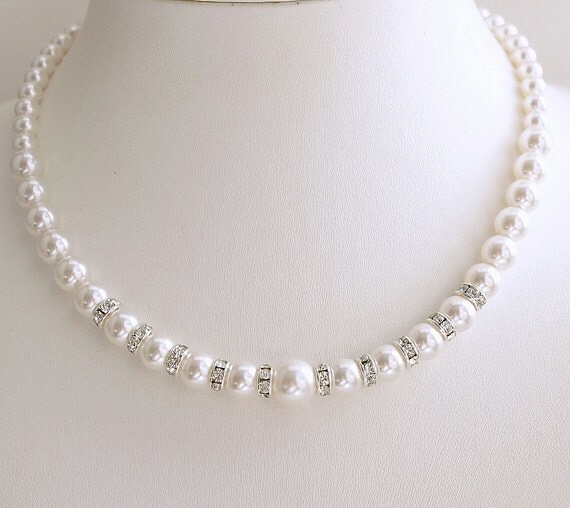 Single Strand Pearl Necklace: Pearl Necklace Wedding Single Strand Pearl Swarovski Pearls In