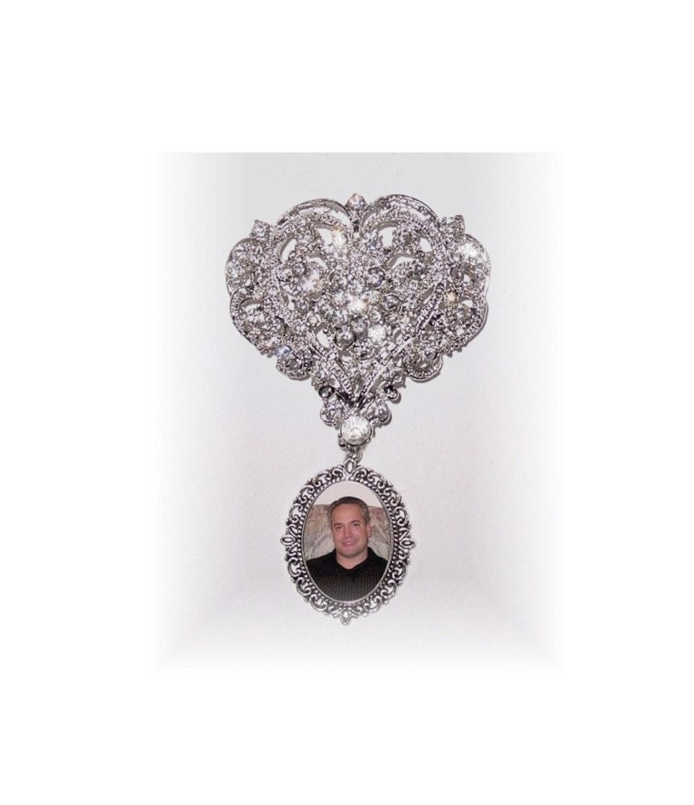 wedding bouquet memorial photo charm brooch cinderella ever