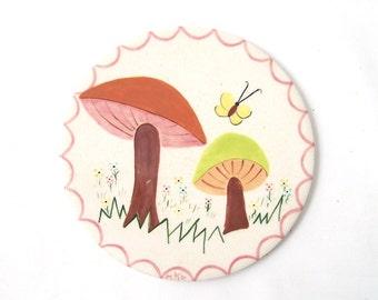 vintage ceramic mushroom trivet H&R johnson england white pink green butterfly coaster hot plate decorative home decor mid century retro