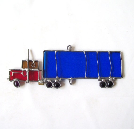 vintage stained glass semi truck 18 wheeler red blue yellow window decoration decorative home decor retro modern mens hanging handmade