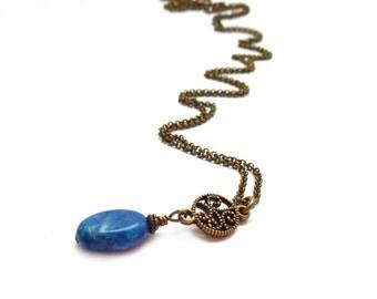 Blue Pendant Necklace - Crazy Lace Agate Stone - Antiqued Bronze Chain - Simple Jewelry - Dark Blue Necklace
