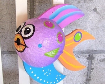 Coconut Fish Tropical Fish Hand Painted and Hand Crafted Purple Palm Seed Pod