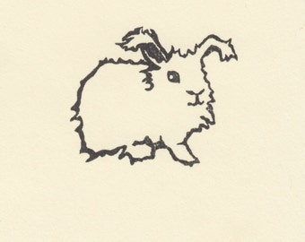 Angora Easter Bunny Rubber Stamp--Clear Polymer--made from hand-carved rubber stamp