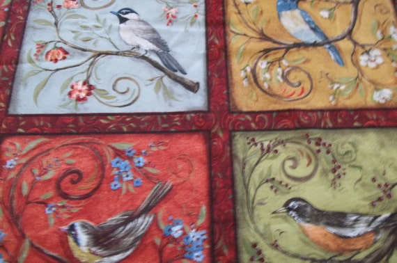 Bird Fabric Panel Bird Print Blocks Panels