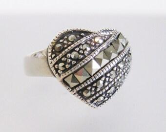 Sparkling Vintage Sterling & Marcasite Heart Ring