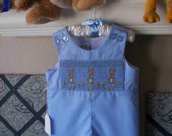 Beatrix Potter Hand Smocked Jon Jon Romper Overalls for Easter or special occasion -you PICK color  Blue or Green