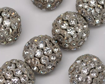 20 X 22 mm Vintage Rhinestones Bead Balls Large Silver Toned Classic Huge 2 or 4 Pieces