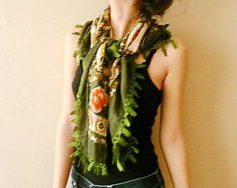Green Floral Square Scarf Hand Crochet leaves Embroidered Shawl
