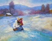 Mother and Daughter Original Painting 12X12 canvas palette knife, mom daughter, hugging, winter, snow wall decor, Vickie Wade Art