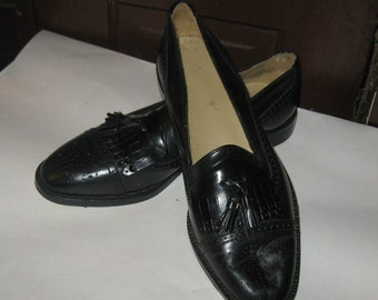 vintage Giorgio Brutini Mens  black Leather Dress tassel  Loafers    sz 9 1/2 d