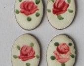 N1260 Vintage Guilloche Enamel Cabochons Oval 13x9mm Rose Floral Cloisonne