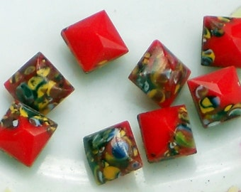 Vintage Cabochons Glass Western Germany Square Mosaic Rare Cabs 6mm NOS Red. #1038