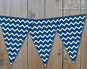 Blue Chevron Printable Banner, Mix and Match Party Printables / Instant Download / PRINTABLE / #218