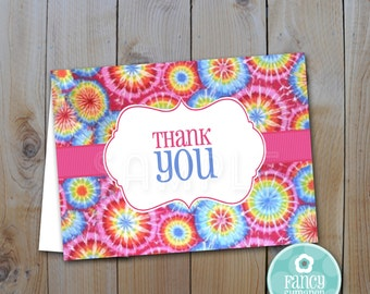 Tie Dye Thank you Cards /  Instant Download / PRINTABLE /82612