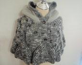 Knitting Hood Black and Gray Capelet Shawl Shrug