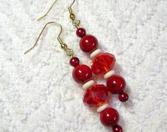 Ruby Red Earrings - Red Earrings - Dangle Earrings - Earrings - Jewelry - E43