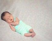 Newborn Photo Prop - Crochet Newborn Romper - The Jersey Romper - Made to Order