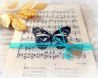 Stamped Vintage Japanese Hymnal Pages / Beautiful Butterflies / Junk Journal / Daily Planner