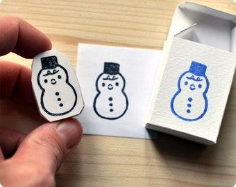 Snow weather hand carved rubber stamp