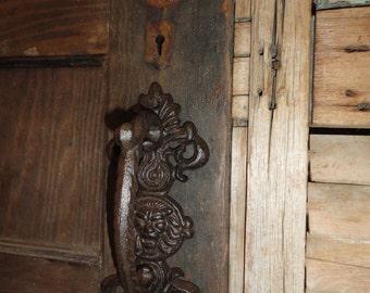 Cast Iron Door Handle Vintage inspired Door pull fleur de lis lion head design Shabby and Chic.