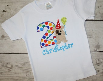 Puppy Dog Birthday Shirt- Blue, Bright Blue, Bright Green Boys Birthday Shirt, Doggy Birthday Shirt, It's a PAW-TY Shirt