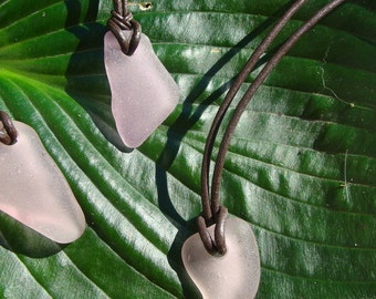 Aquarius Beach Glass and Leather Necklace