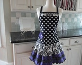 Purple Damask ~ Ellie Style ~ 4RetroSisters ~ Women's Retro Modern Full Apron