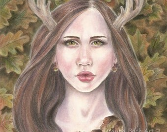Guardian of the Oak - fantasy fairy gothic art by Deanna Bach