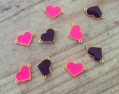 Pink Gold Plated Heart Connectors - Jewelry Supplies