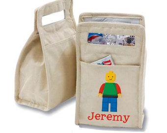 Personalized Brick Man Insulated Cotton Lunch Bag - Personalized with Any Name and You Choose the Font!