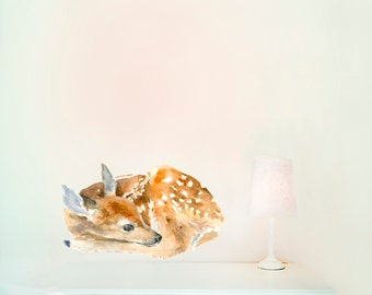 Sleeping Fawn Wall Decal, Fabric Wall Sticker ( Not Vinyl, PVC free )