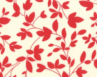 OH DEER MOMO Moda Fabric 3 yds modern quilting sewing retro graphic red cream leaves branches oop 3 full yards 16075-13
