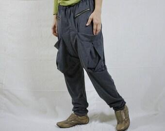 Men Women Funky Ninja Harem Dark Heather Grey Cotton Jersey Drop Crotch Pants With Patched & Zipped Pockets