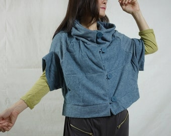 Patched Dusty Teal Blue Brushed Cotton Mix Polyester Stand Collar Drop Shoulder Cape Poncho Cloak Batwing Vest Jacket Blouse