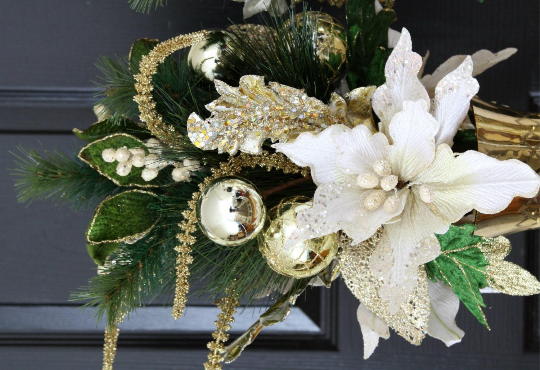 White Amp Gold Poinsettia Christmas Centerpiece Home Christmas